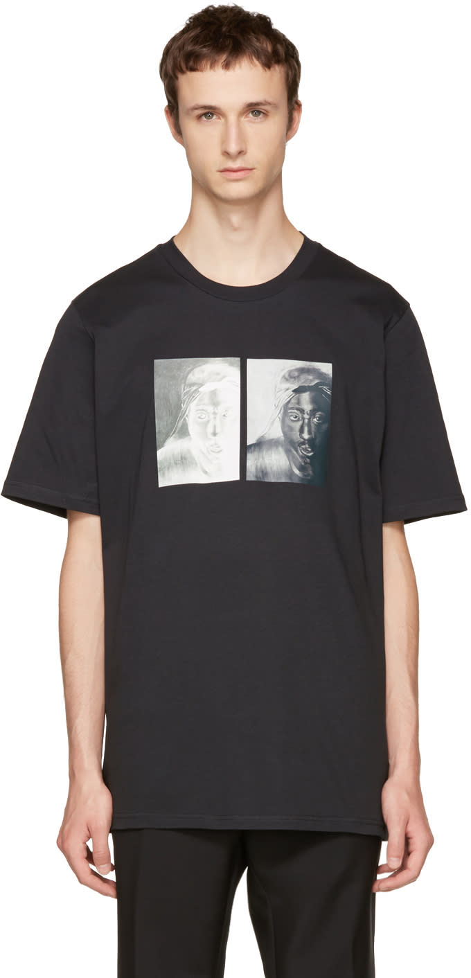 Image of Oamc Black S.o.s. Tupac T-shirt
