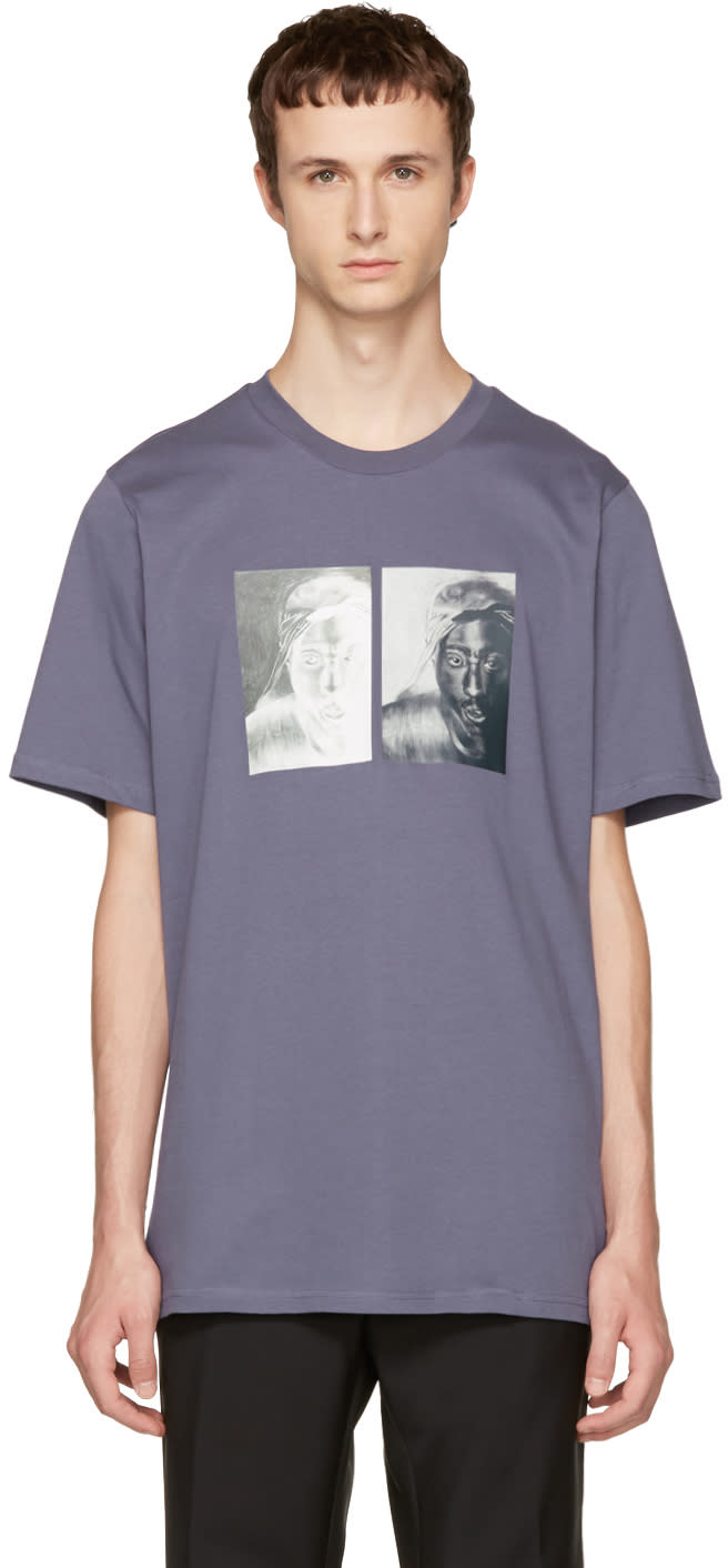 Image of Oamc Blue S.o.s. Tupac T-shirt