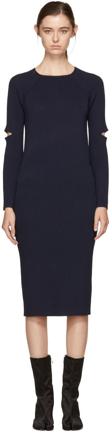 Image of Nomia Navy Ribbed Slit Sleeve Dress