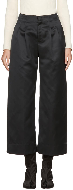 Image of Nomia Black Satin Wide-leg Trousers