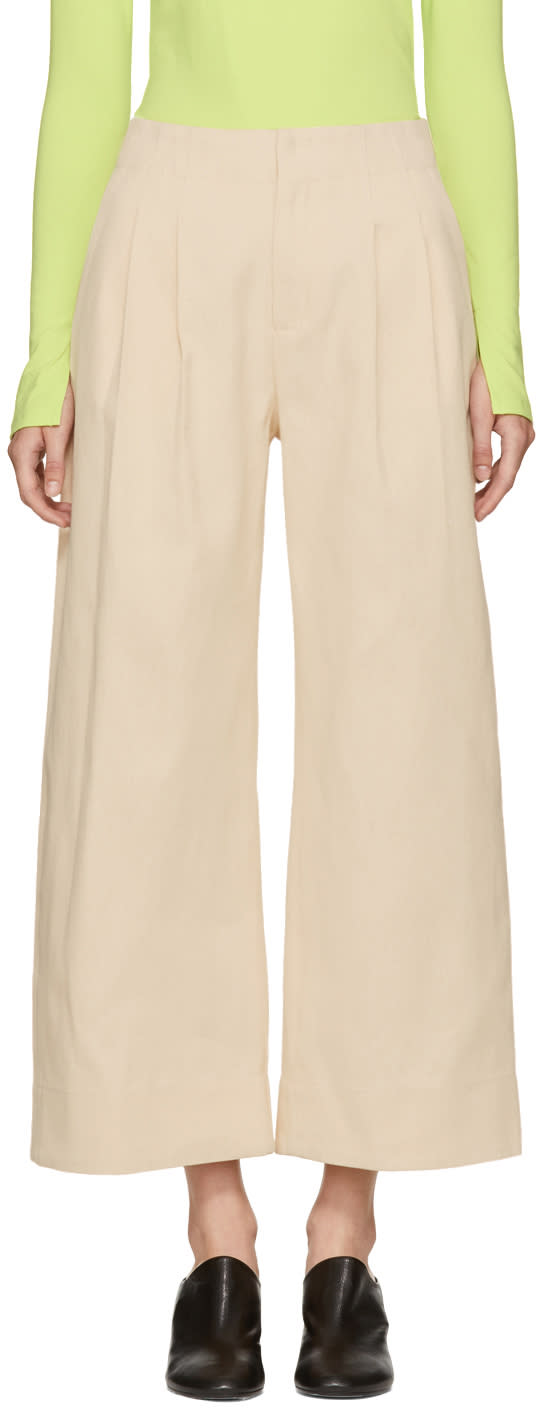 Image of Nomia Ivory Twill Wide-leg Trousers