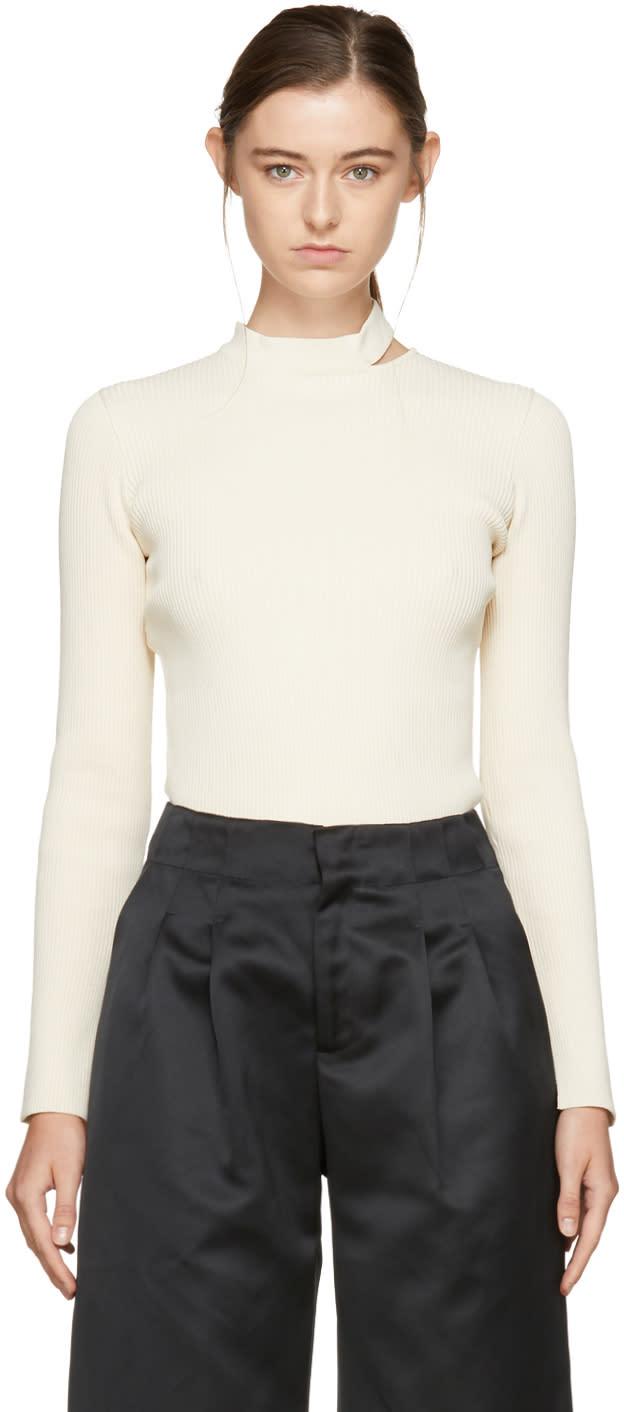 Image of Nomia Ivory Slit Collar Sweater