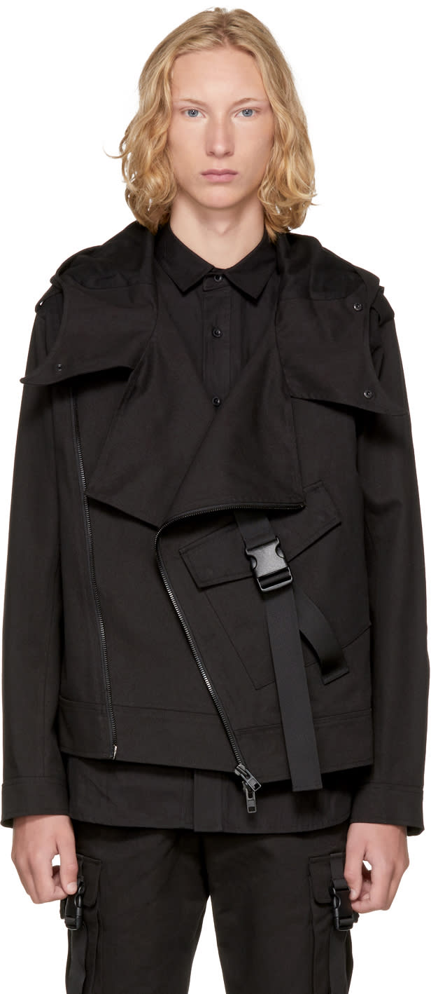 Image of D By D Black Big Pocket Strap Rider Jacket