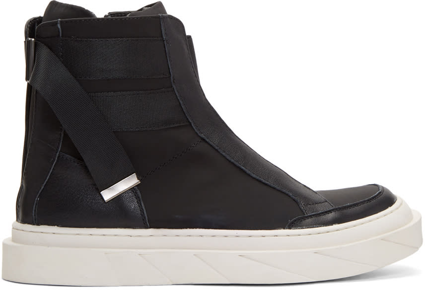 D By D Black Back Strap High-top Sneakers