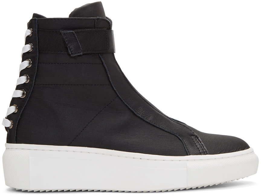 D By D Black Back Shoelace High-top Sneakers
