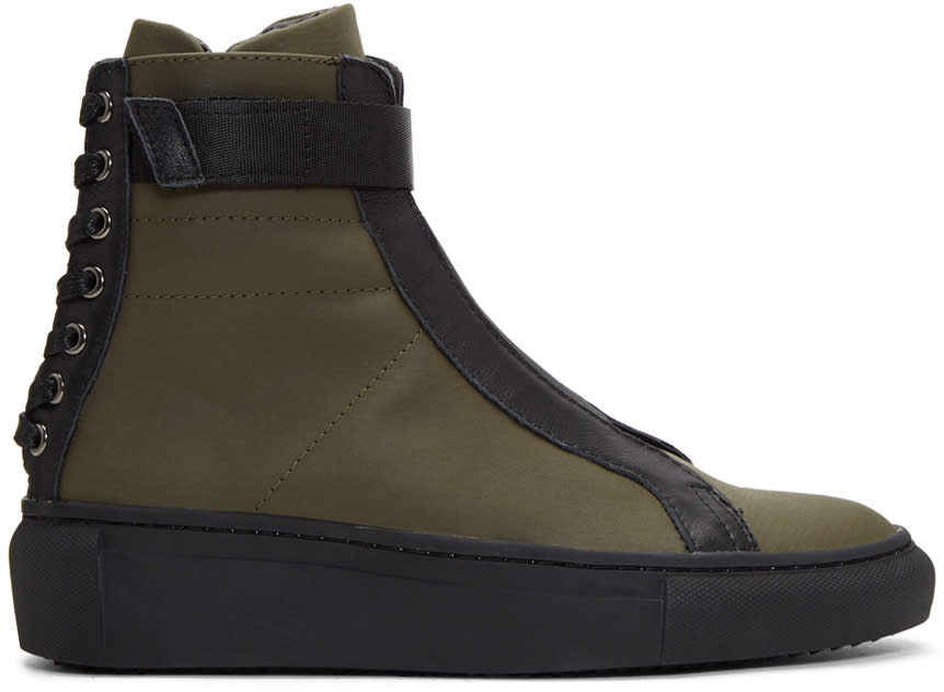 D By D Khaki Back Shoelace High-top Sneakers