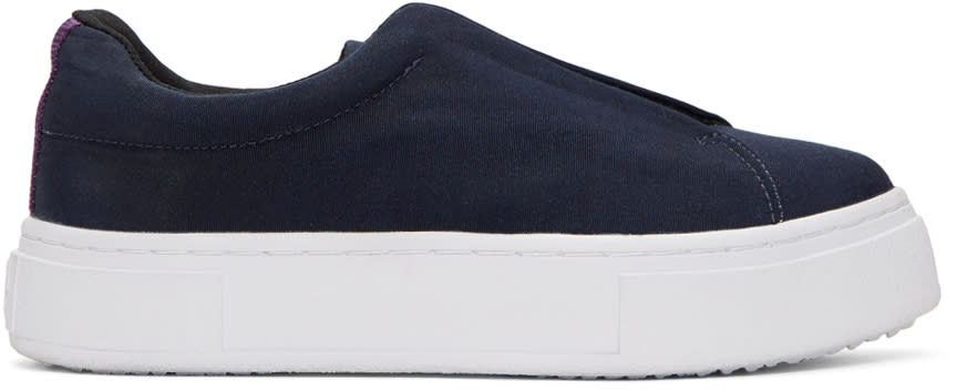 Eytys Navy Canvas Doja Slip-on Sneakers