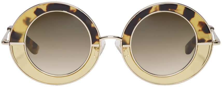 Image of Erdem Gold Linda Farrow Edition Round Sunglasses