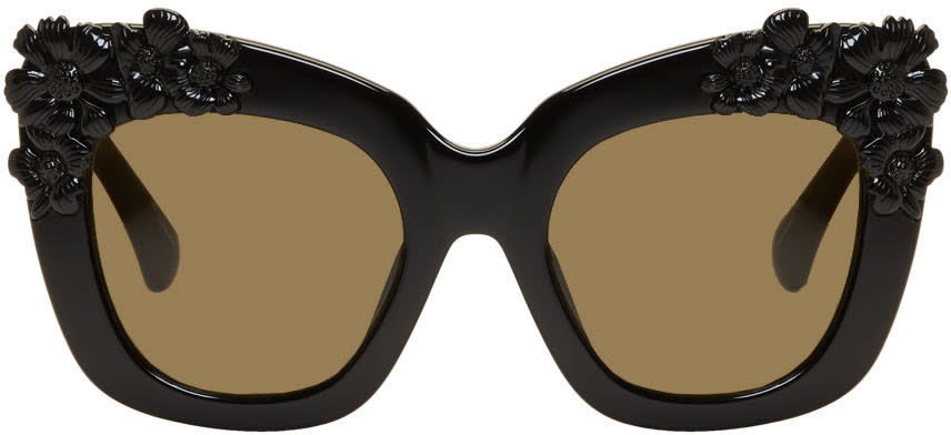 Image of Erdem Black Linda Farrow Edition Cat-eye Flower Sunglasses
