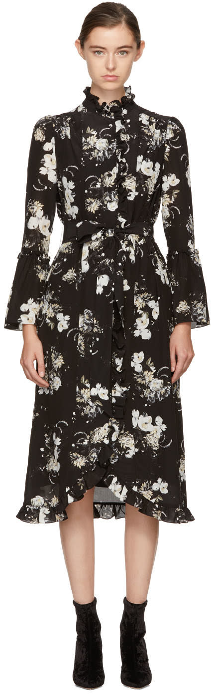 Image of Erdem Black and Ecru Siren Dress