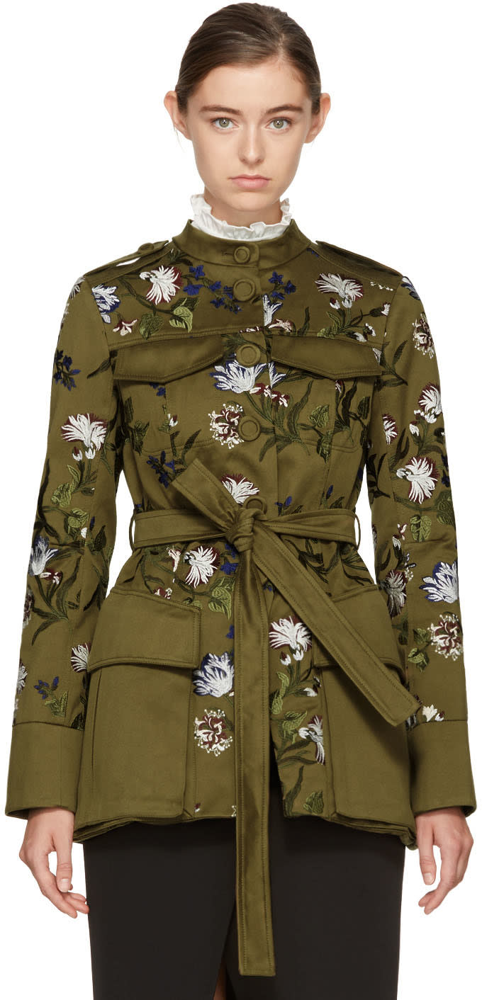 Image of Erdem Green Battista Military Coat