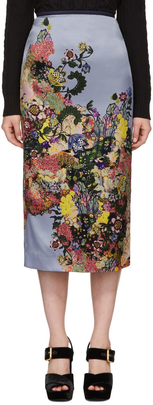 Erdem Blue and Pink Maira Skirt