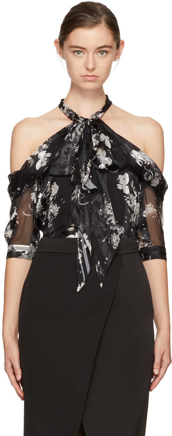 Image of Erdem Black Elin Off-the-shoulder Blouse