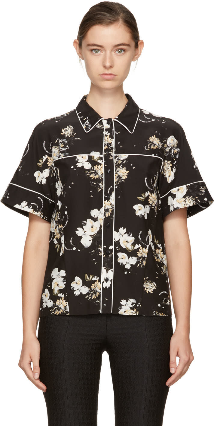Image of Erdem Black and Ecru Liana Shirt