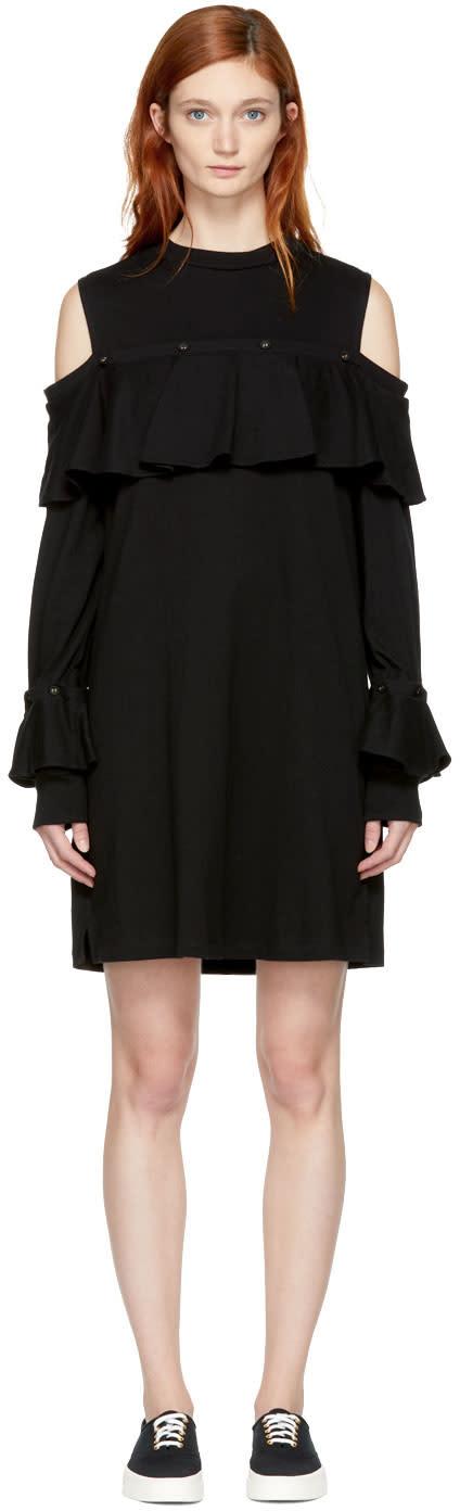 Image of Sjyp Black Cut-out Shoulder Frill Dress