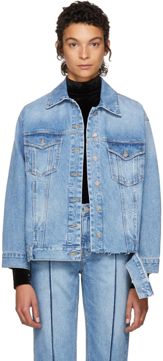 Image of Sjyp Blue Bottom Cut Denim Jacket