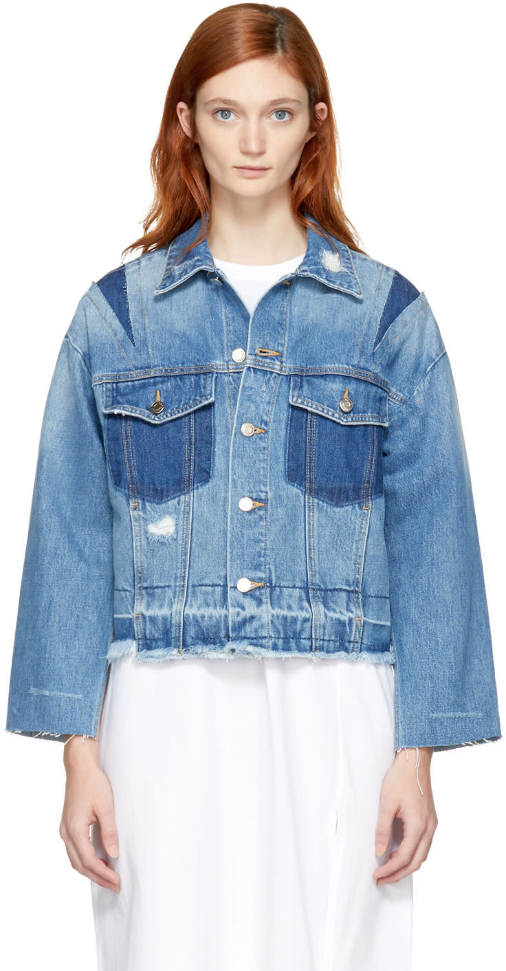 Image of Sjyp Blue Denim Cut-off Jacket