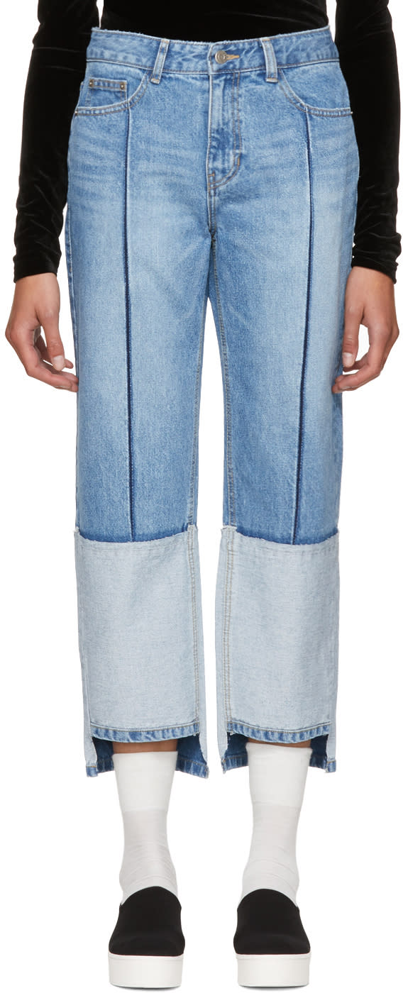 Image of Sjyp Blue Tone-on-tone Tomboy Jeans