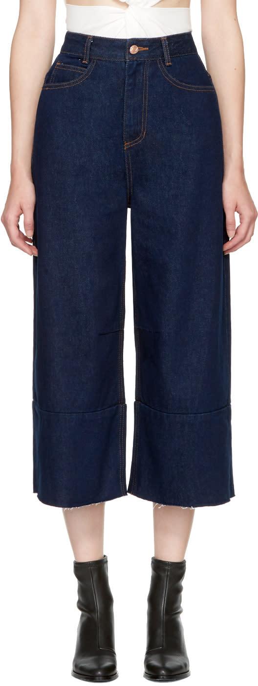 Image of Sjyp Blue Wide Cut Jeans