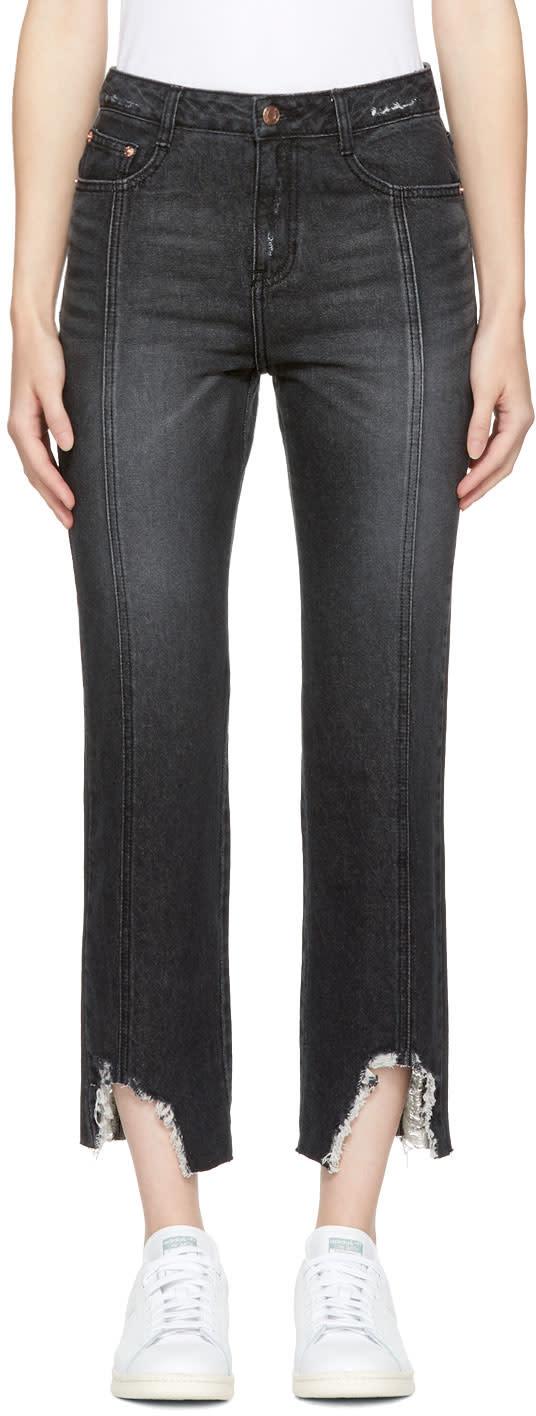 Image of Sjyp Black Destroyed Hem Kick Flare Jeans