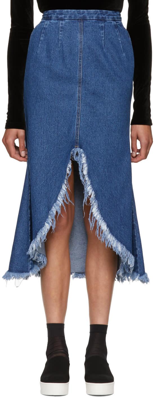 Image of Sjyp Blue Front Cut-off Denim Skirt