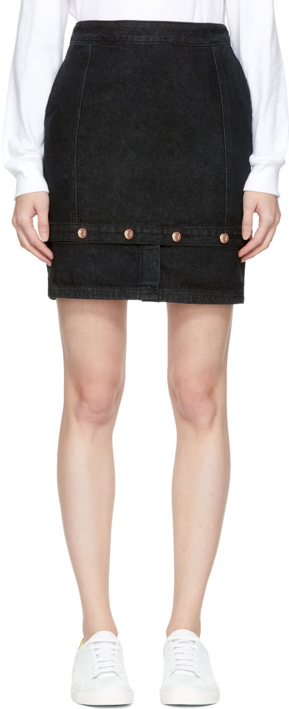 Image of Sjyp Black Panelled Denim Miniskirt