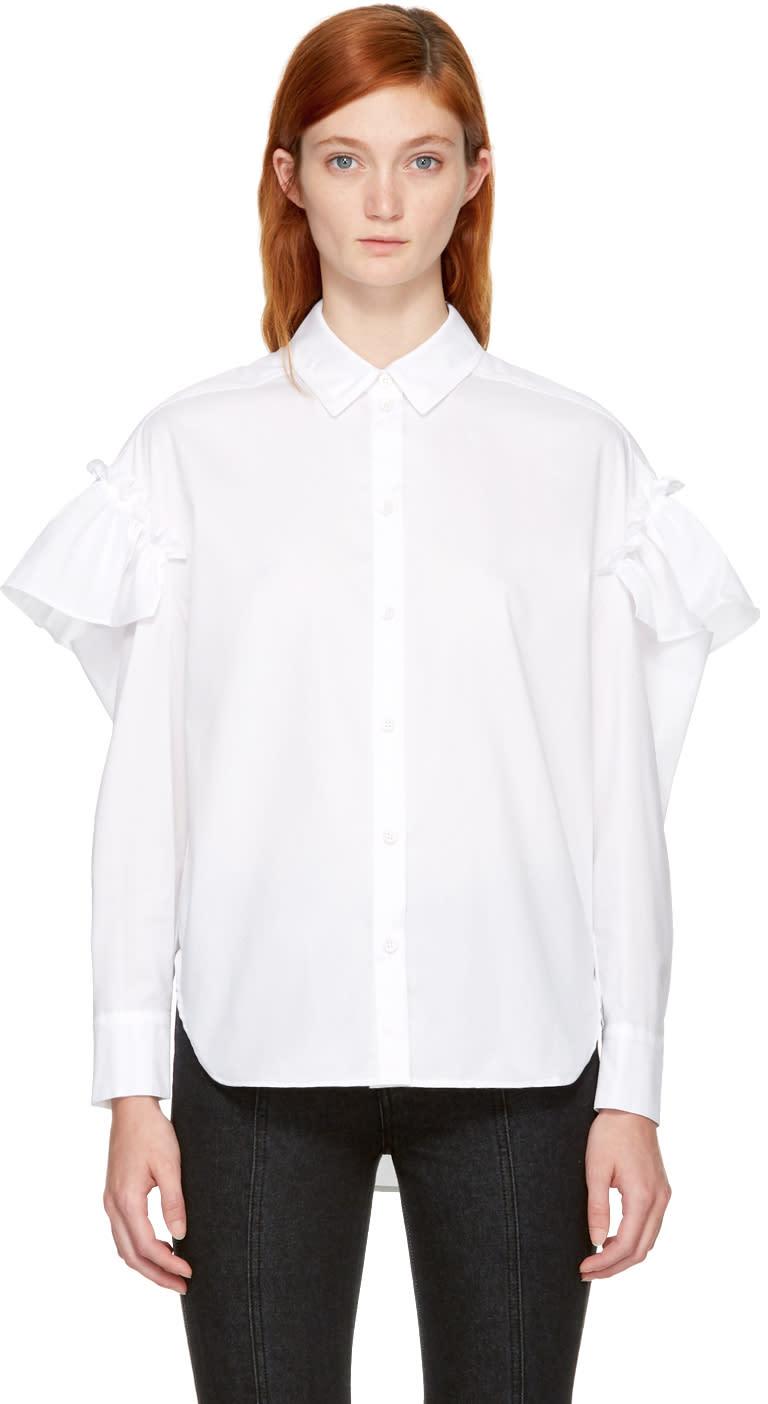 Image of Sjyp White Sleeve Frill Shirt