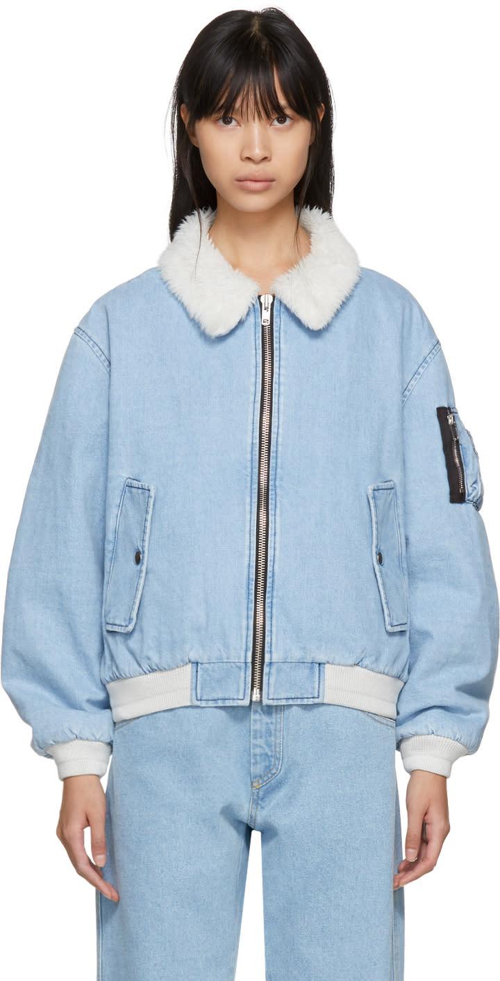 Image of Gosha Rubchinskiy Blue Faux-shearling Denim Jacket