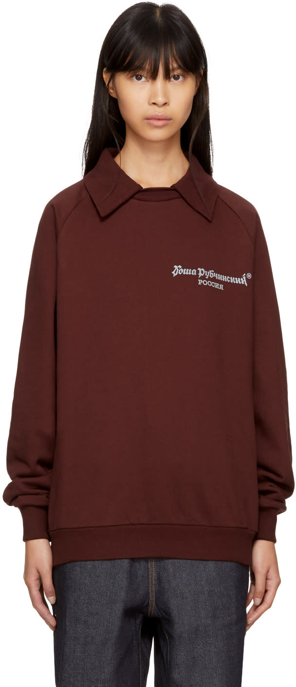 Image of Gosha Rubchinskiy Brown Long Sleeve Logo Polo