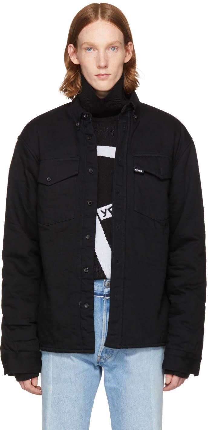 Image of Gosha Rubchinskiy Black Faux-shearling Denim Jacket