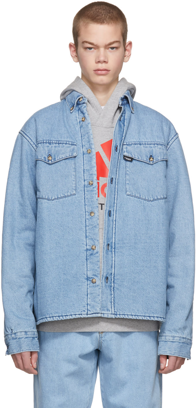 09e2ec2ab Gosha Rubchinskiy Blue Faux fur Denim Shirt