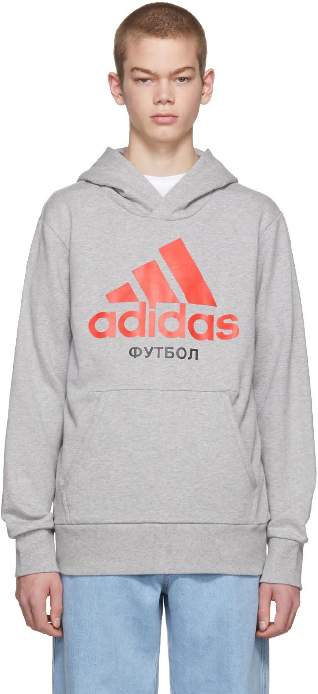 Image of Gosha Rubchinskiy Grey Adidas Originals Edition Hoodie