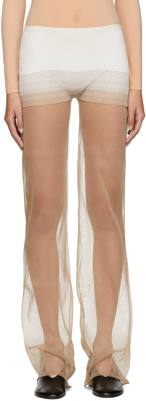 Image of Lemaire Beige See-through Leggings