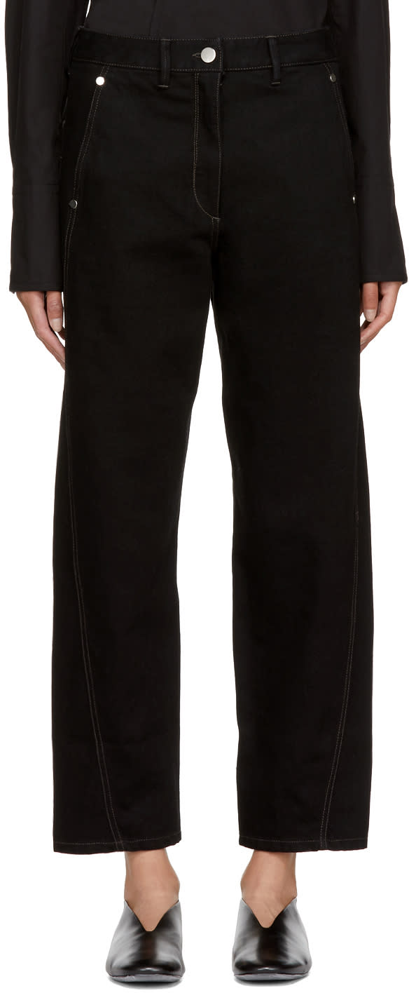Lemaire Pantalon En Denim Noir Twisted