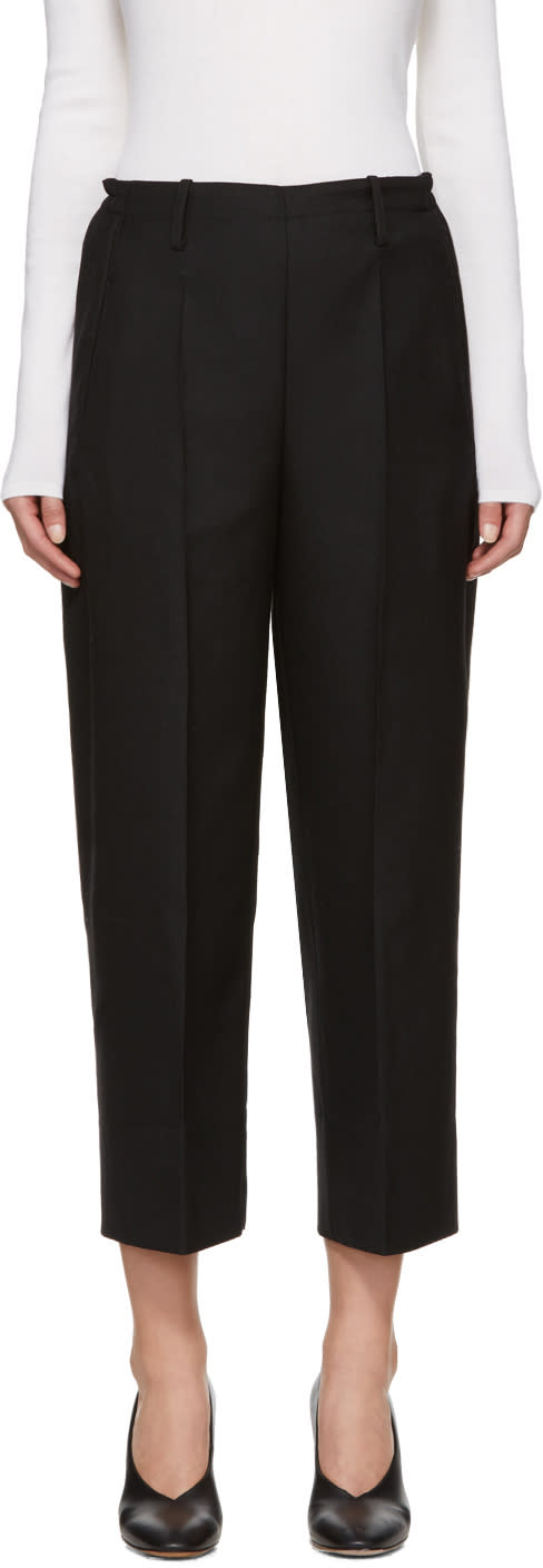 Image of Lemaire Black Cropped Wide-leg Trousers