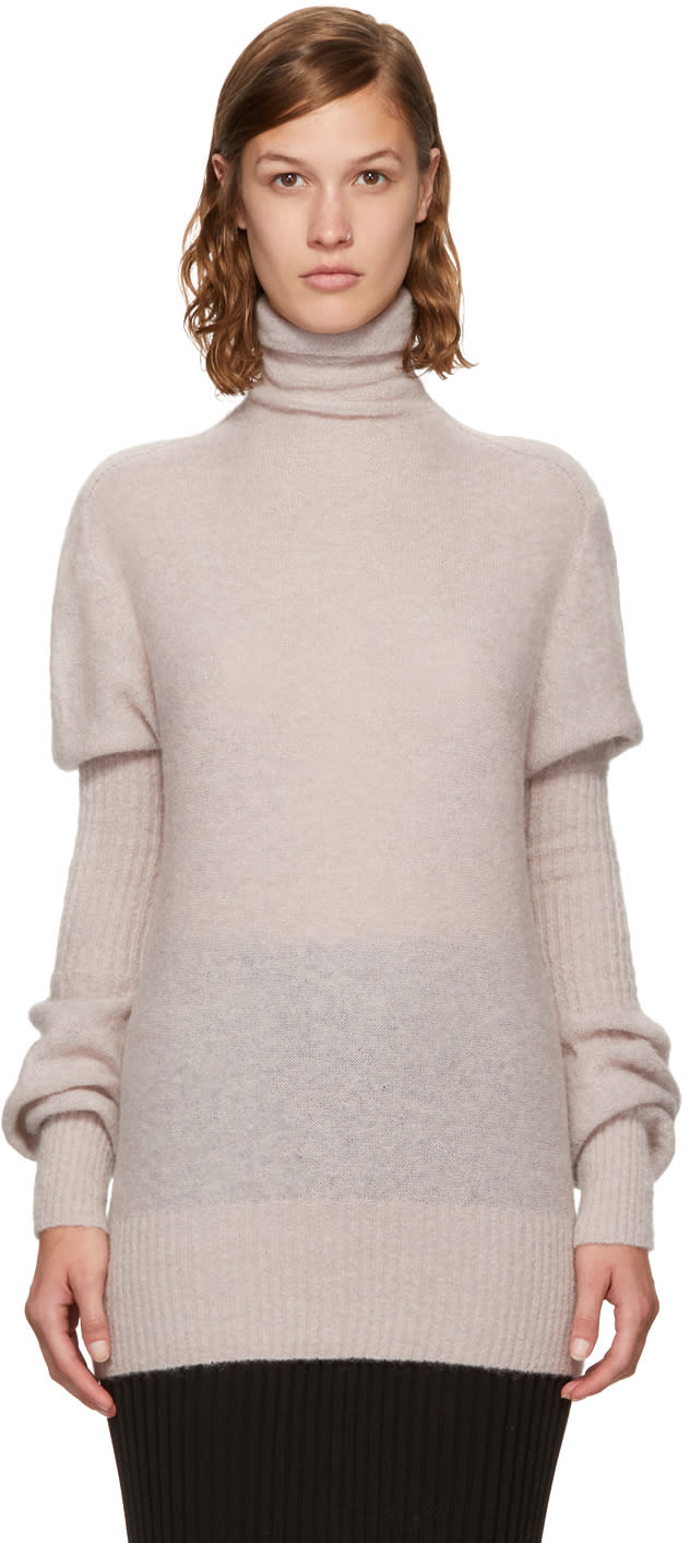 Image of Lemaire Beige Mohair Puff Sleeve Turtleneck