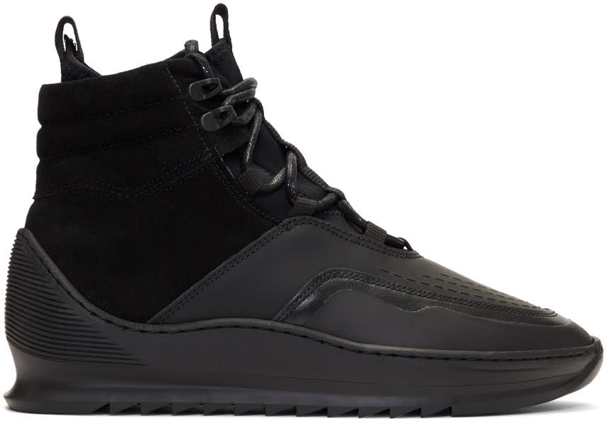 Filling Pieces Black Mid Altitude Heel Cap Tech Sneakers