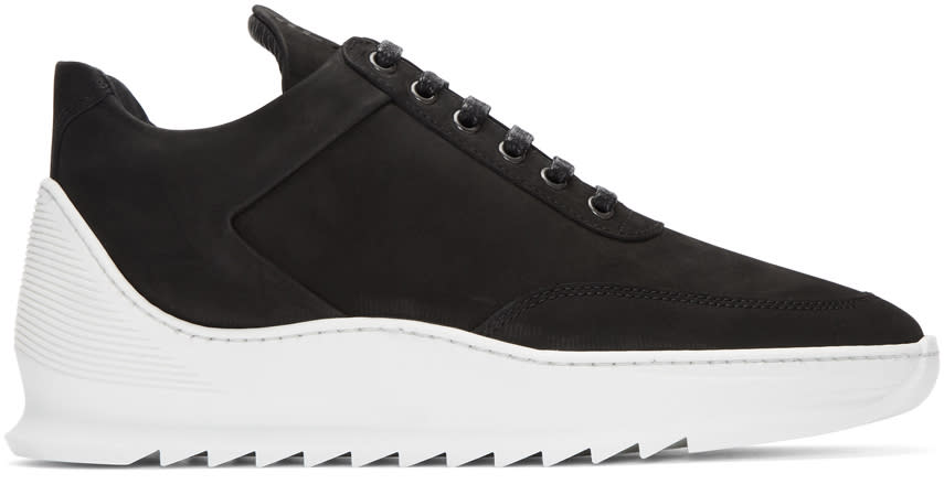 Filling Pieces Black Suede Low Heel Cap Sneakers