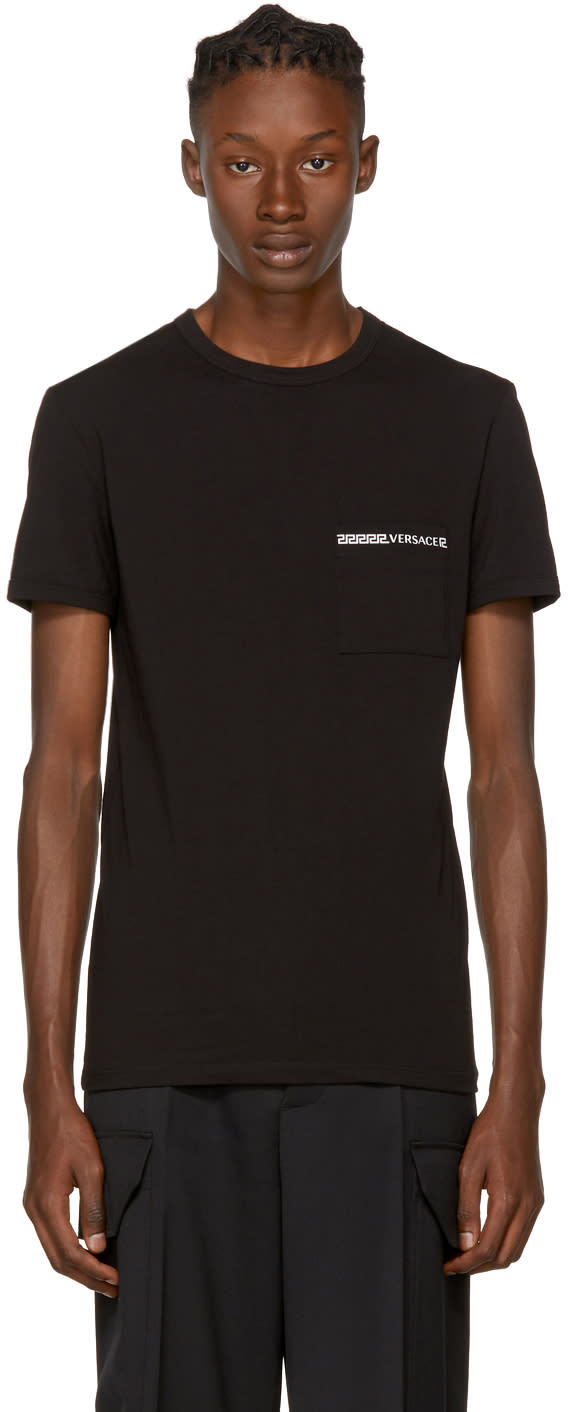 Image of Versace Underwear Black Greek Logo Pocket T-shirt