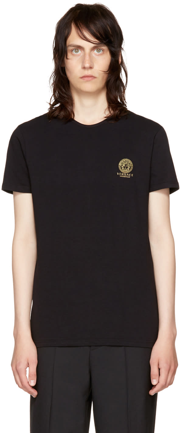 Image of Versace Underwear Black Small Medusa Logo T-shirt
