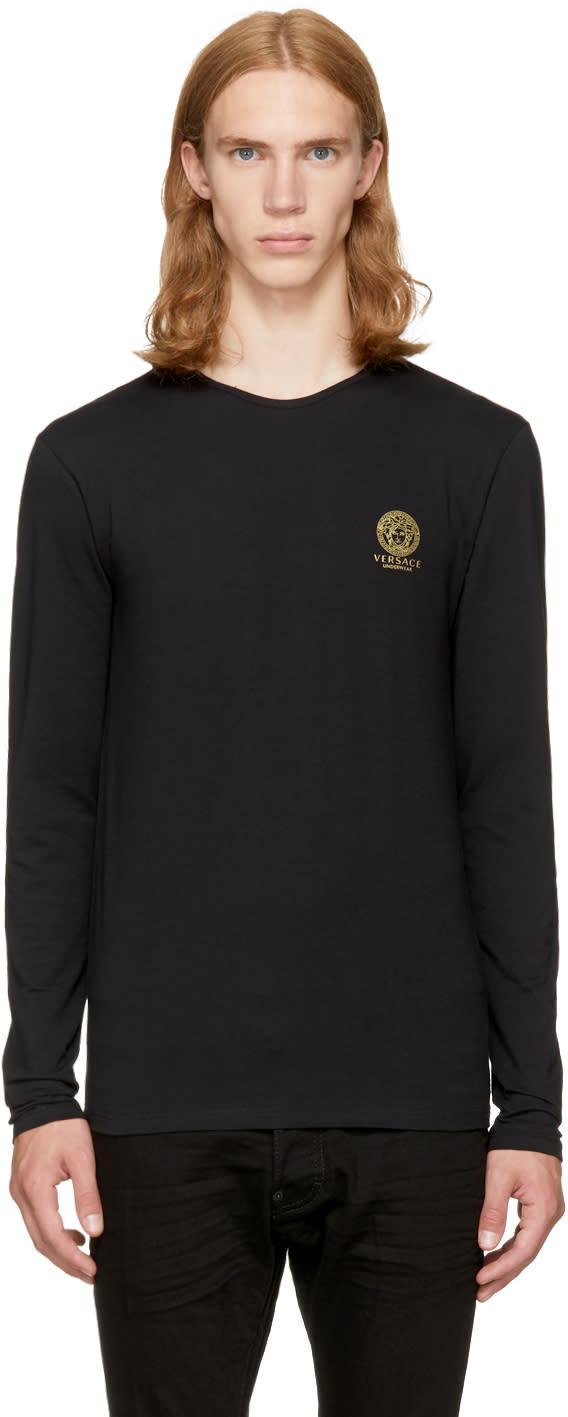 Image of Versace Underwear Black Long Sleeve Small Medusa T-shirt