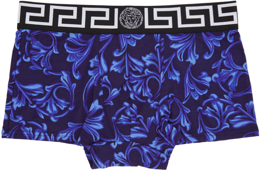 b19045b56004 Versace Underwear Navy and Blue Baroque Medusa Boxer Briefs