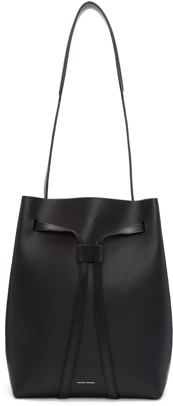 Image of Mansur Gavriel Black Drawstring Hobo Bag