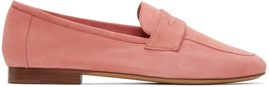 Mansur Gavriel Pink Suede Classic Loafers