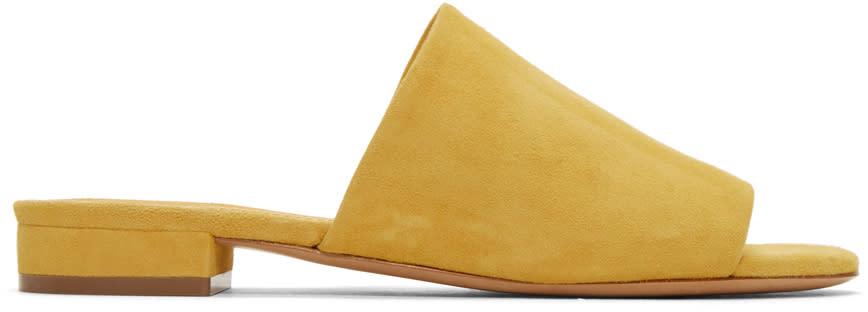 Mansur Gavriel Yellow Suede Flat Mules