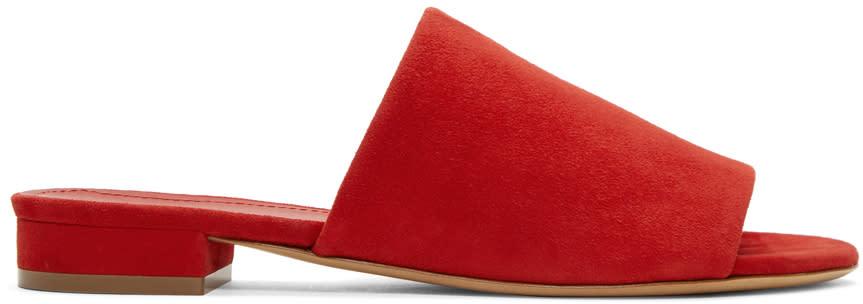 Mansur Gavriel Red Suede Flat Mules