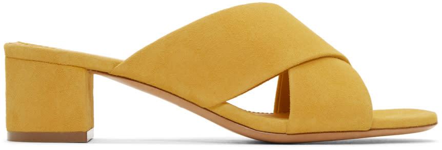 Mansur Gavriel Yellow Suede Crossover Sandals
