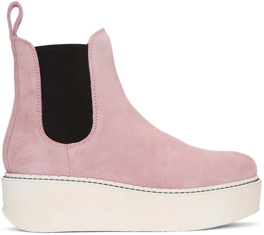Flamingos Pink Suede Gibus Platform Boots