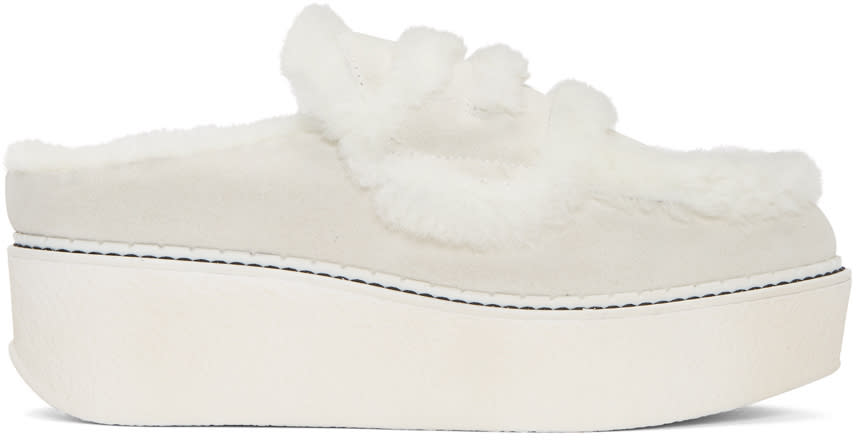 Image of Flamingos Off-white Suede Loco Slip-on Platform Loafers
