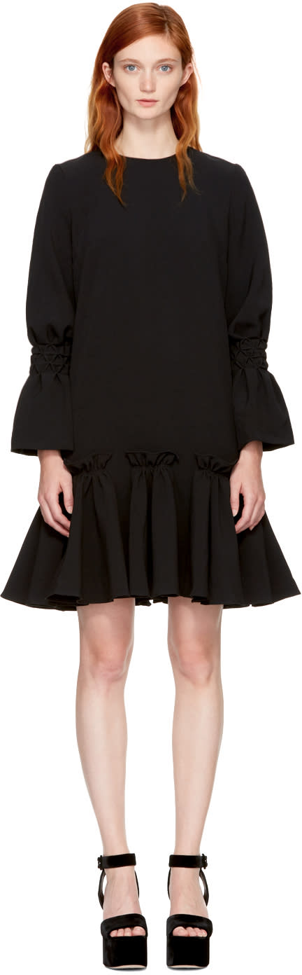 Image of Edit Black Ruffled Hem Dress